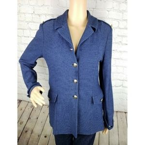 St. John Collection Santana Knit Navy Blazer *Flaw